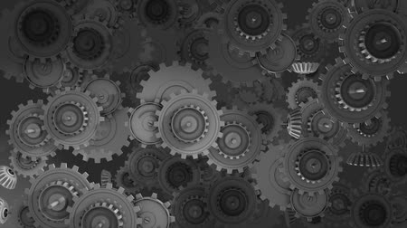 conventional : Working gears concept animation, steel, metal, cogwheel, turning.