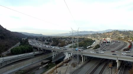 Aerial Powerlines and Freeways over LA River
