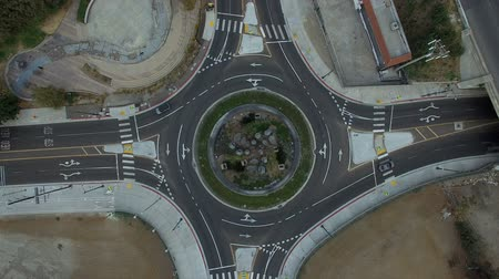 Top view rise over roundabout circle street in Los Angeles, CA