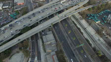 Aerial view of freeway overpass in Los Angeles Stock mozgókép