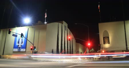 sinema : Time lapse of Warner Bros Studios Gate 2 at night on January 24, 2018 Stok Video