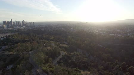 Aerial view rising high above Los Angeles at sunset Stock mozgókép