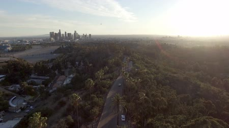 talapzat : Pedestal down view over Elysian Park above Los Angeles skyline