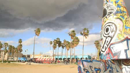Venice Beach art work as storm moves in (timelapse)