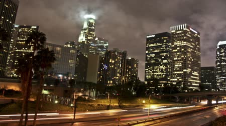 Time lapse shot of Downtown Los Angeles at night