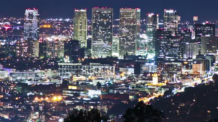 Time lapse shot above Beverly Hills at night