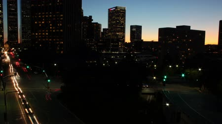 Time lapse shot of Downtown Los Angeles as the sun goes down Stock Footage