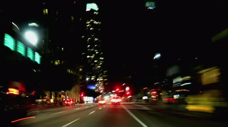 Long exposure time lapse of driving through Downtown LA at night
