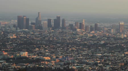 Timelapse of the downtown Los Angeles Skyline as the sun falls
