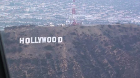 Aerial view from pilot window of Hollywood Sign Stock Footage