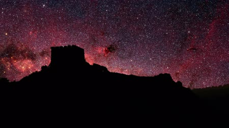 Old world stars. Dramatic time lapse view of stars moving over a old castle ruins. Stock Footage