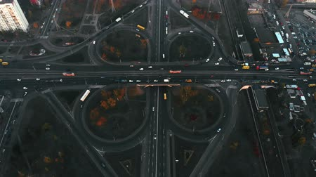 non městský dějiště : Aerial view of road junction, large car interchange. Aerial highway junction, Colorcorrected 4k footage. Kyiv, Ukraine