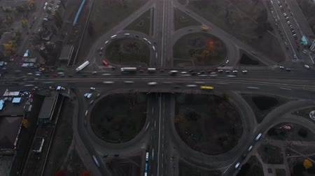 non kentsel : Aerial timelapse of road junction, large car interchange. Aerial highway junction, Colorcorrected 4k footage. Kyiv, Ukraine