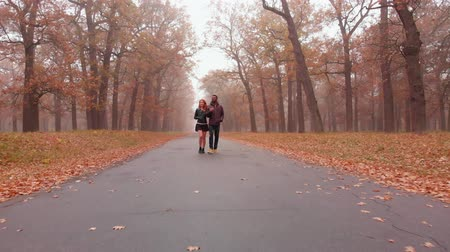 恋人 : Interracial love concept. Beautiful young interracial couple walking on road in the foggy autumn park, 4K