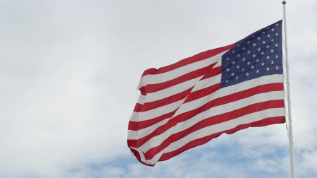 saygı : Steady close up shot of a US flag waving gently in the wind Stok Video