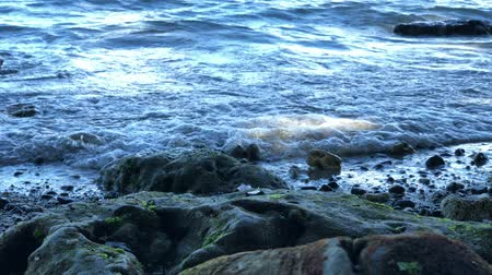 Medium wide shot of waves rolling to the shore on a gloomy day Wideo