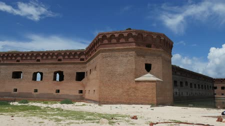 Steady medium wide shot of Fort Jefferson at the Dry Tortugas National Park.