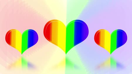 LGBT heart pattern on colorful background perspective view. Rainbow pride flag. 3d illustration