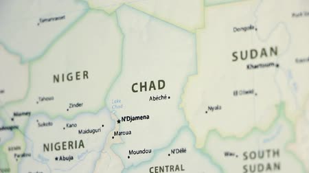 чад : Chad on the political map of the world. Video defocuses showing and hiding the map. Стоковые видеозаписи
