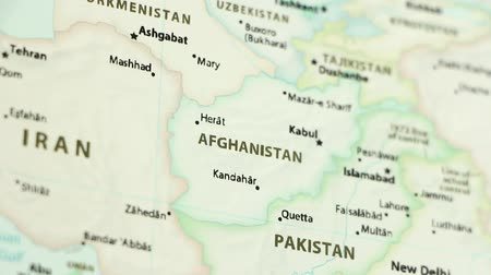 global iş : Afghanistan on the political map of the world. Video defocuses showing and hiding the map. Stok Video