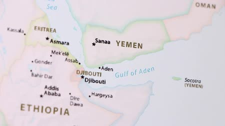 yemen : Yemen on the political map of the world. Video defocuses showing and hiding the map. Stock Footage