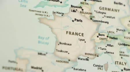 só : France on the political map of the world. Video defocuses showing and hiding the map. Stock Footage