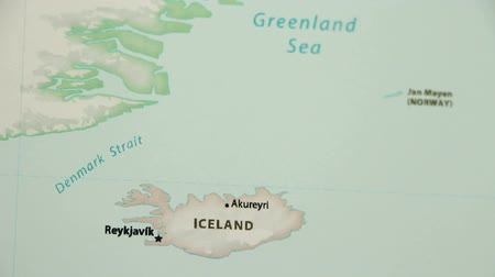 reykjavik : Iceland on the political map of the world. Video defocuses showing and hiding the map.