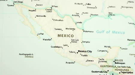 siyasi : Mexico on the political map of the world. Video defocuses showing and hiding the map. Stok Video