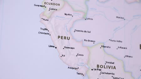 lima : Peru on the political map of the world. Video defocuses showing and hiding the map. Stock Footage