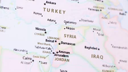 damasco : Syria on the political map of the world. Video defocuses showing and hiding the map.