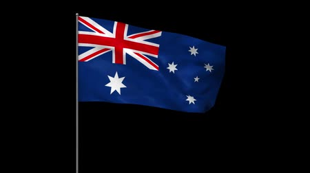 fosco : Waving australian flag with alpha matte Stock Footage