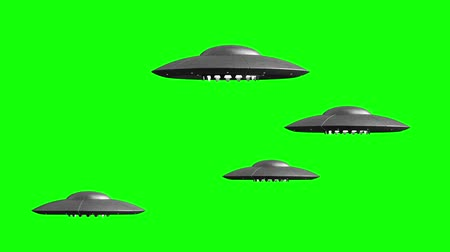 fincan tabağı : 3d rendered animation of flying saucers on green screen