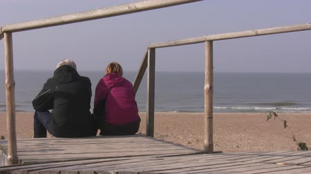 relação : Rear view of senior man and woman sitting on the steps of boardwalk on the seaside Stock Footage