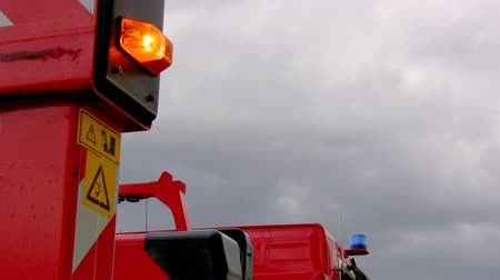 special unit : Fire truck in position with orange warning light flashing