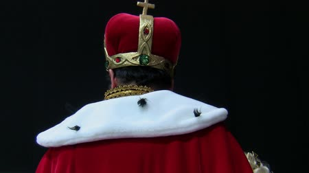 király : Rear view of head and shoulders of  actor wearing kings clothing and crown against black background Stock mozgókép