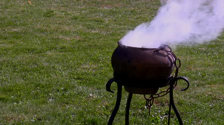 magical : Witchraft. Boiling Cauldron outside on grass Stock Footage