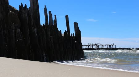 oceânico : Old wooden pier ruins on sandy beach with blue sky and sea waves splashing Stock Footage