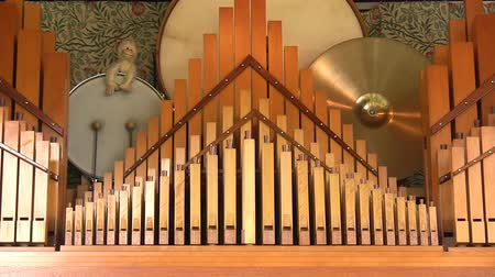 pipe organ : Closer view of the fairground band organ with drums and cymbals