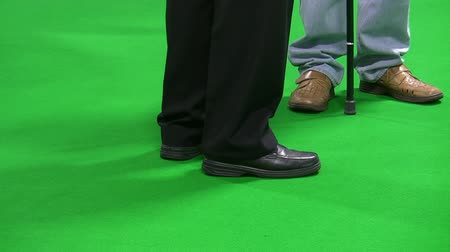 bengala : Legs of two men with walking sticks isolated standing on green carpet background.