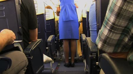 общественное питание : A stewardess in the airplane is standing next to the trolley cart and serving flight passengers snacks and refreshments. Стоковые видеозаписи