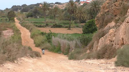 talaj : Local man is riding a motorcycle on brown dirt road up the hill  towards the camera leaving behind his village in Morocco, North Africa