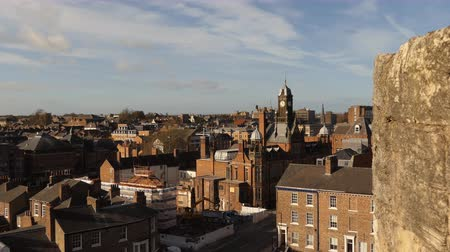 kasaba : Elevated view of old English city of York downtown