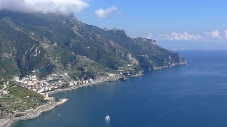 amalfitana : Top view of beautiful Amalfi coast, Italy. Popular tourist resort of Maiori town seen on mountain terraces