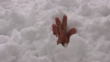 buried : Bare hand emerging from snow after avalanche. Man trapped under the snow is still alive and needs help. Snowing in tiny snowflakes