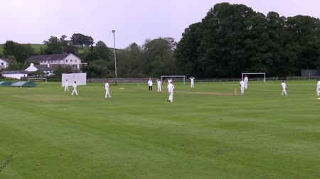 wicket : Unrecognizable people, cricket players training at a local club in England Stock Footage