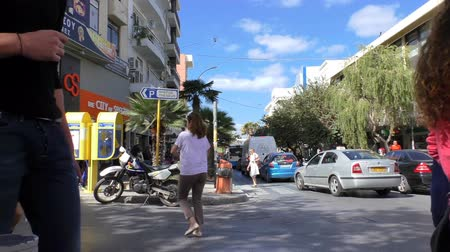 crete : HERAKLION, CRETE ISLAND, GREECE - OCTOBER, 2014: People and transport in Heraklion or Heraclion city centre, center on a sunny day