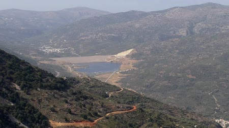 drinking water supply : Greece, Crete island. Aposelemis dam zoom from the mountain