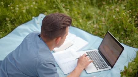 apple computers : Young Handsome Man is Working on Laptop Lying on a Blanket in the Park in the Summer