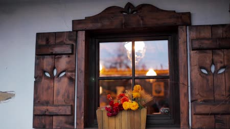 ziyafet : Horizontal Panorama of a Cozy Beautiful Window with Flowers and Wooden Shutters in a Rural Slavic Country House Stok Video