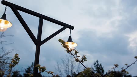 sokak lâmbası direği : Horizontal Panorama of a Beautiful Vintage Electric Retro Street Lamp Luminous at Dusk in the Park
